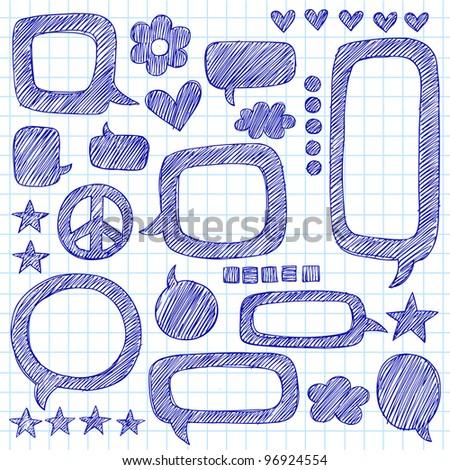 Speech Bubbles Sketchy Doodle Hand-Drawn Icon Set- Vector Illustration Design Elements on Lined Sketchbook Paper Background