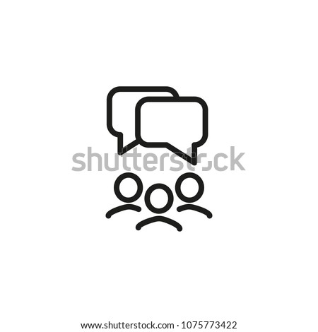 Speech bubbles under group of people line icon. Team, talking, discussion. Meeting concept. Can be used for topics like conference, teamwork, brainstorming.