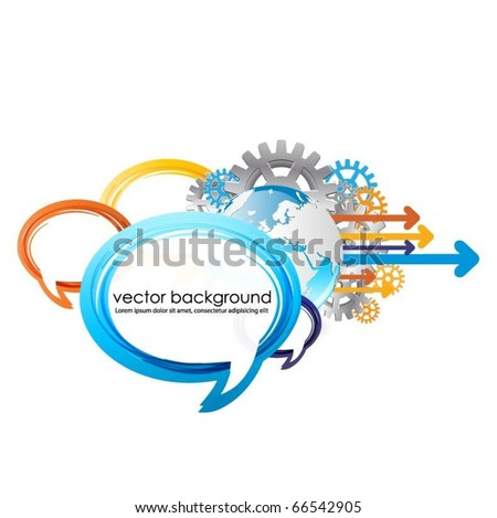 speech bubbles vector design with globe