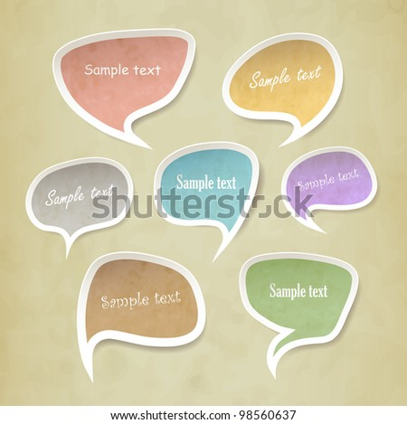Speech bubbles vector set vintage style