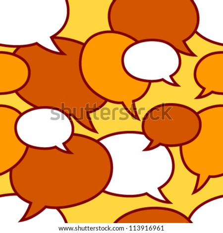 speech bubbles white, orange on yellow