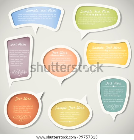 Speech bubbles  with calligraphic elements.Vector set
