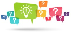 speech bubbles with colored question marks and with green light bulb symbolizing idea or solution