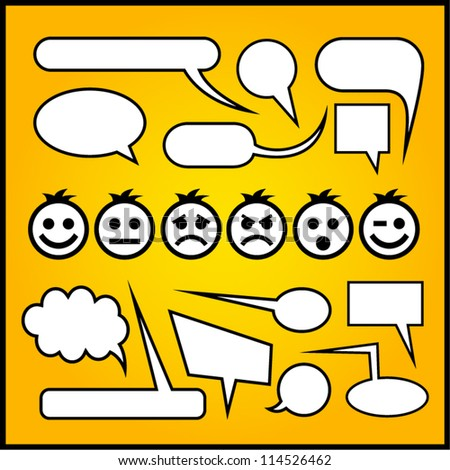 Speech bubbles with emoticons.