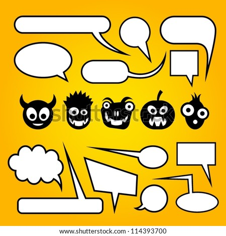 Speech bubbles with funny monsters.
