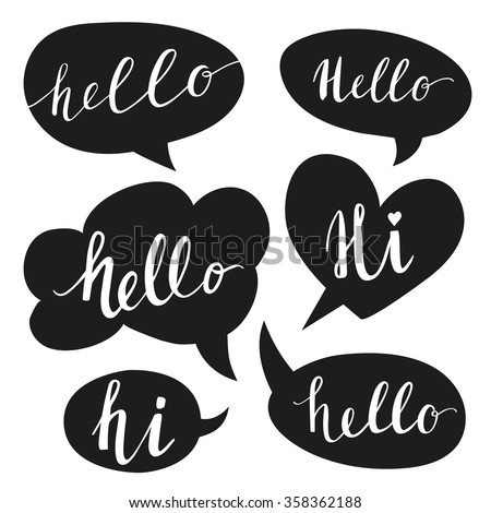 speech bubbles with hello word