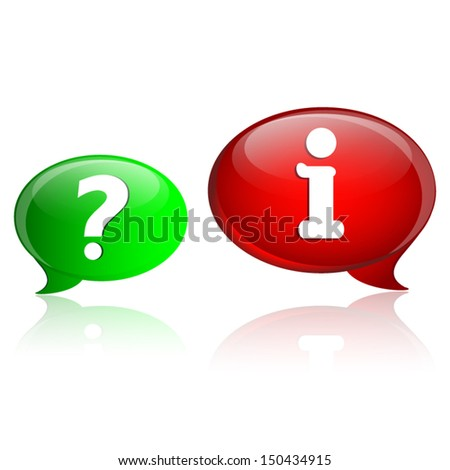 Speech bubbles with question and information symbol.