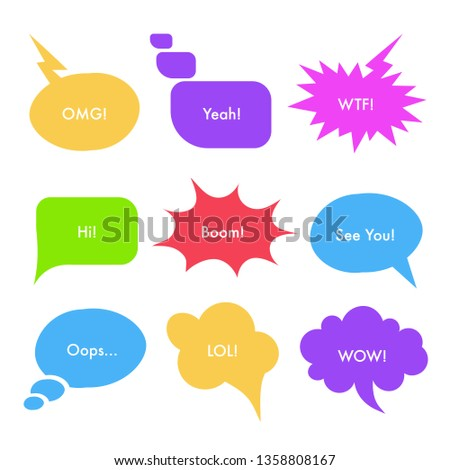 Speech bubbles with text vector illustrations set. Clouds with slang words isolated cliparts pack. Boom, wow, hi, OMG, See You phrases. Comics, scrapbook multicolor design elements