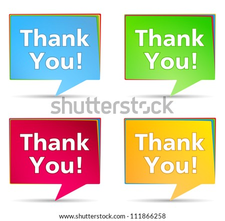Speech bubbles with 'Thank You!' words, vector eps10 illustration