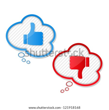 Speech bubbles with thumbs up and thumbs down symbols, vector eps10 illustration