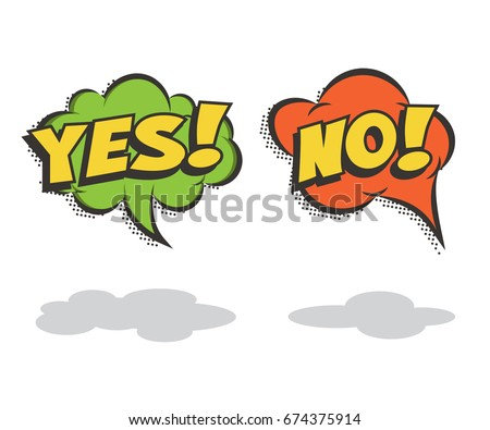 Speech bubbles YES and NO. Vector comic book elements.