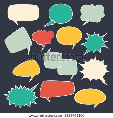Speech frames. Speak kids bubble set with speaking vintage talk comic clouds bubbly oval for chat text vector dialogue set
