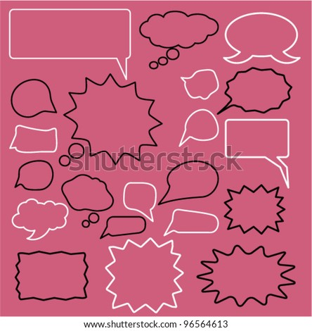 speech & idea bubble icons set, vector
