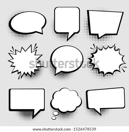 Speech or thought bubbles. Retro empty comic speech bubbles set 9 in 1. Vector icon