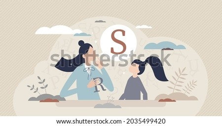 Speech therapist for S or R letter pronunciation problems tiny person concept. Communication correction and development for school kids vector illustration. Private lesson with text talking exercises. Stock fotó ©