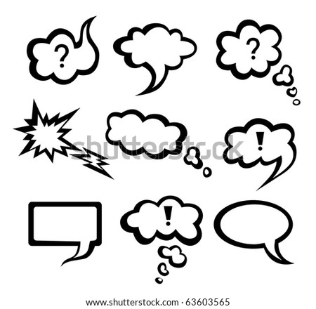 Speech vector  monochrome clouds