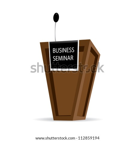 Speech Wooden Podium Isolated on white background. business background.