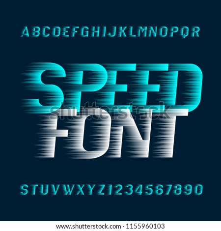 Speed alphabet font. Fast wind effect oblique type letters and numbers. Stock vector typeset.