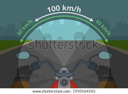 Speed and field of vision. Adjusting your speed when riding a motorcycle. Peripheral vision while driving. Road safety. Flat vector illustration template. Stock photo ©