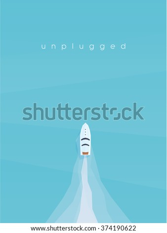 Speed boat in the ocean top aerial view. Summer vacation poster with copy space. Eps10 vector illustration.