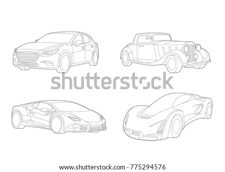 Speed car vector, Automobile set, Transportation set, Car icons, Car illustration, Vector car, Line art, Technology concept