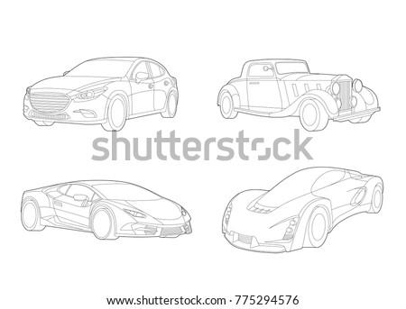 Speed car vector, Automobile set, Transportation set, Car icons, Car illustration, Vector car, Line art, Technology concept