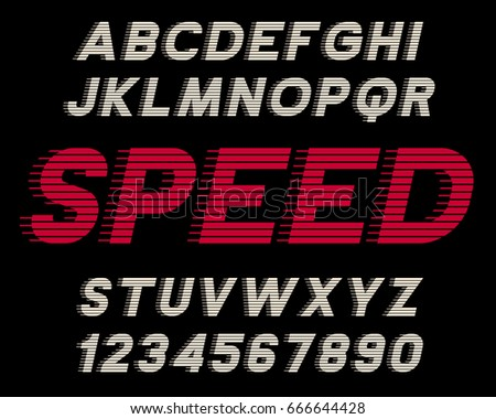Speed decorative font Linear design Modern letters and numbers Vector abc