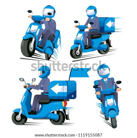 Speed delivery everything service concept. Motorcycle staff have a quick shipment various view.