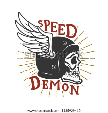 speed demon skull in winged