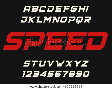 Speed geometric decorative font Modern design Bold letters and numbers Vector abc