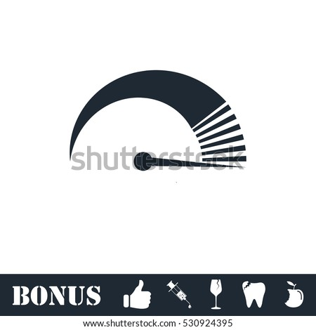 Speed icon flat. Vector illustration symbol and bonus pictogram