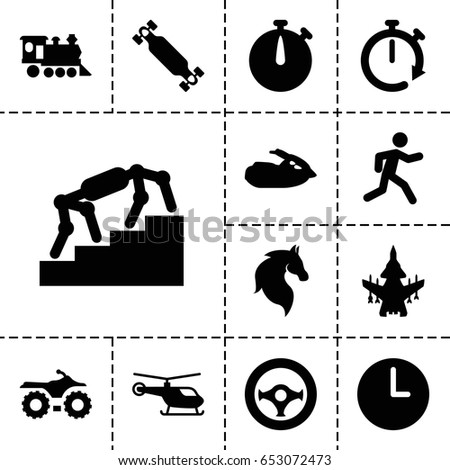 speed icon set of 13 filled