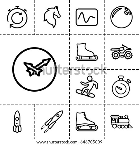 speed icon set of 13 outline