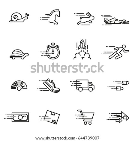 Speed ??Icon Set Series Design Elements A conceptual icon set relating to speed, being fast, and or efficient. Line Style stock vector.