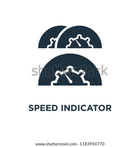 Speed Indicator icon. Black filled vector illustration. Speed Indicator symbol on white background. Can be used in web and mobile.
