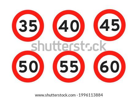 speed limit 35  40  45  50  55