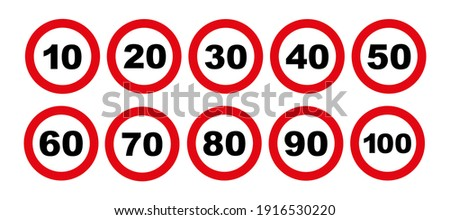 speed limit sign on white background Foto stock ©