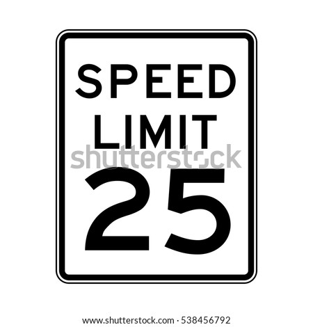 Speed limit 25 traffic light on white background