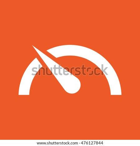 Speed limit vector icon. Orange background