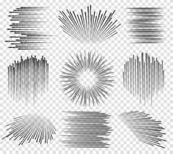 Speed line or fast lines manga motion on transparent background. Vector illustration