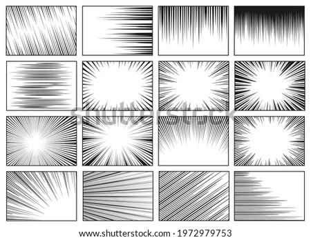 Speed lines backgrounds. Fast speed motion horizontal line manga effect, retro radial sun rays background. Comic magazine vector layouts. Dynamic movement for superhero fight, burst