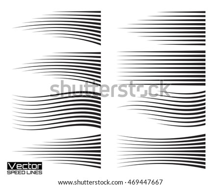 Speed lines set. Motion effects collection for your design. Vector template