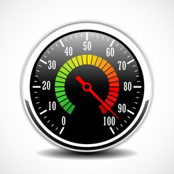 Speed metering dial face vector sign illustration isolated on white background