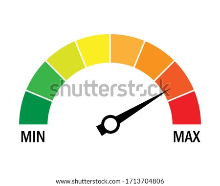 Speed metering icon isolated on white background. vector illustration modern flat design. Minimum and maximum measuring dial. Colorful infographic gauge sign. car performance measurement symbol. Stock photo ©