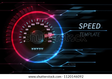 Speed motion line vector abstract tech background with car racing speedometer. Fast auto race, sport drive illustration