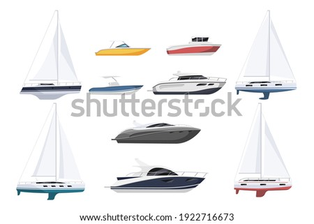 speed motor boat  sail boat and