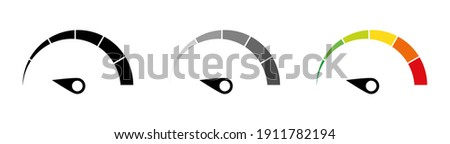 Speed performance gauges icons set. Infographic scales. Speedometer icon set. Customer satisfaction indicator level. Colorful info-graphic speedometer. Risk level gauge. Info-graphic icons set. EPS 10