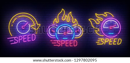 Speed set neon logo. Speedometer logo, label and emblem. Neon sign, isolated sticker, bright signboard, light banner.