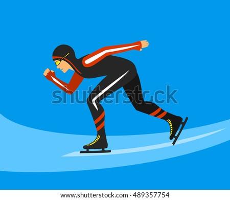 Speed Skater  Race on Ice Rink Vector Illustration #489357754