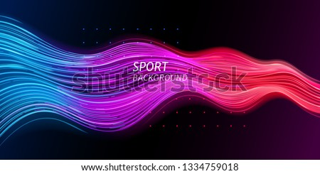 Speed sport background or trendy sound wave. Abstract dynamic and geometric backdrop for music events. Line motion for sport events advertising. Light futuristic layout. Geometry and shape theme